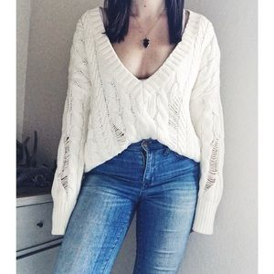 Express Distressed Cable Knit V Neck Sweater
